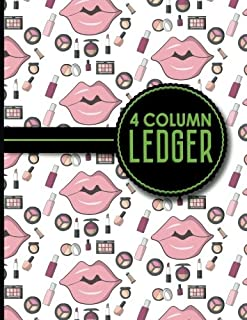 4 Column Ledger: Accounting Paper, Accounting Ledger Book, Bookkeeping Ledger Sheets, Cute Cosmetic Makeup Cover, 8.5