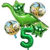 DIWULI, Gran Juego de Globos de Dinosaurios, 1x Globo Gigante de Dinosaurios + XL número 5 Globo Verde + 2X Globo de Estrellas + 2X Globo de Papel de Aluminio 5º cumpleaños