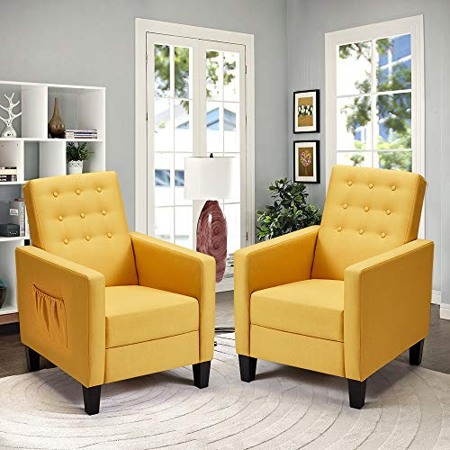 ECOTOUGE Massage Mid-Century Modern Fabric Recliner, 2 Set of Push Back Recliner Chair w/Side Pocket and Button Tufted Single Sofa Chair for Livingroom Bedroom Home and Office, Yellow