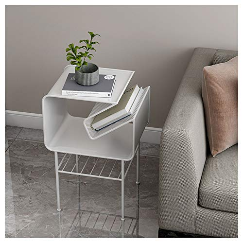 Simple Metal Bedside Shelf Creative Sofa Side Tables Multilayer Coffee Table Home Bookshelf Magazine Rack Modern Furniture Decor, 35X45X66CM(Color:white)