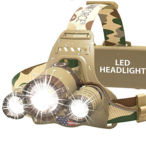 DanForce Camouflaged Headlamp Ultra Bright USB Rechargeable Head lamp. Tactical Head Flashlight Designed Especially for Hunting & Fishing. LED Headlamps CREE 1080 Lumens Headlight with Red Light