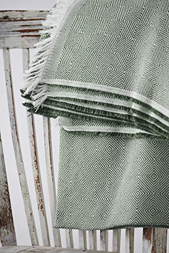 Textilhome - Foulard Multiuso Salvadivano Copridivano Dante 230x285 cm - Copriletto Leggero. Colore Verde Scuro