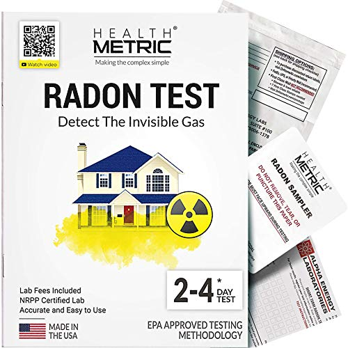 Radon Test Kit for Home - Easy to Use Charcoal Radon Gas Detector for Peace of Mind   48-96h Short Term EPA Approved Radon Tester   Includes Lab Fees   Protect Yourself and Your Family   1-Pack
