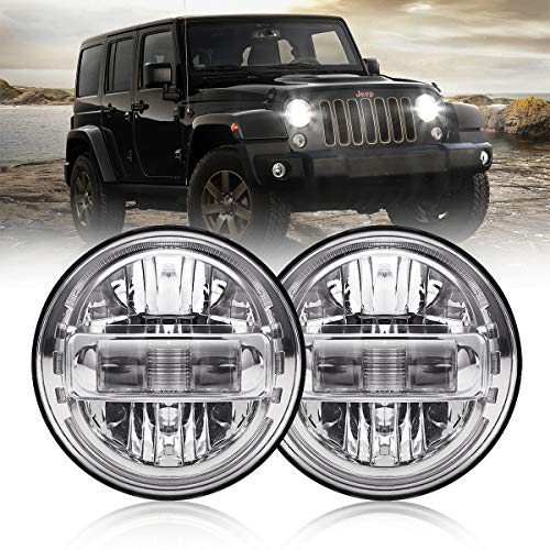 7 Inch Led Headlights DOT Approved Round Headlight with DRL Low Beam and High Beam Compatible with Jeep Wrangler JK LJ CJ TJ 1997-2018 Headlamps Hummer H1 H2-2020 Exclusive Patent (Chrome)