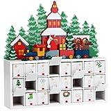 Deuba Calendario de Adviento de Madera Paisaje de Navidad 24 cajoncitos con pomo Adorno personalización DIY decoración