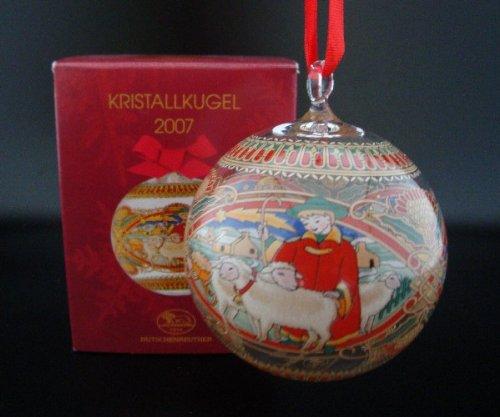 Hutschenreuther Kristall Kugel 2007, Weihnachtskugel, Anhänger, Kristallkugel, Galskugel, Glas Kugel, Baumschmuck