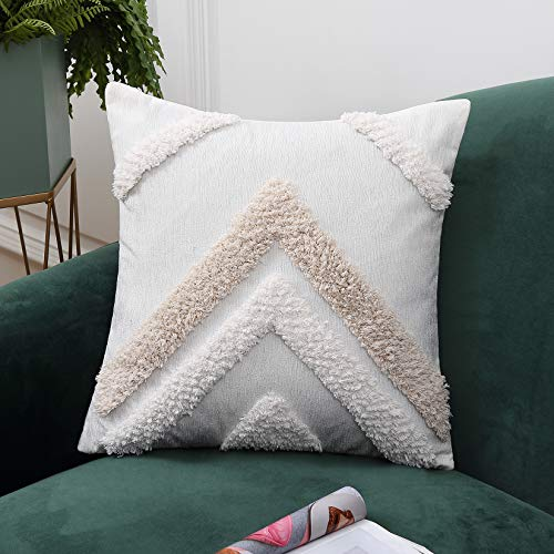 LinTimes Tufted Cushion Covers Novelty Decorative Chenille Soft Square Throw Pillowcase with Invisible Zipper for Livingroom Sofa Bedroom 18x18 inch 45x45cm, 1Pcs