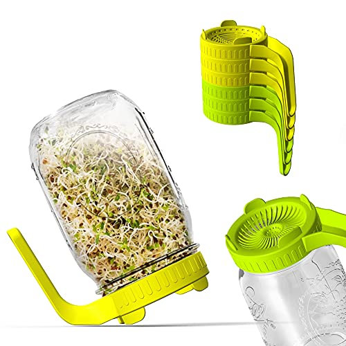 Sprouting Jar Kit- 6pcs Plastic Sprouting Jar Lids with Screen in 2 Colors for Growing Mung Beans Seeds Sprouting