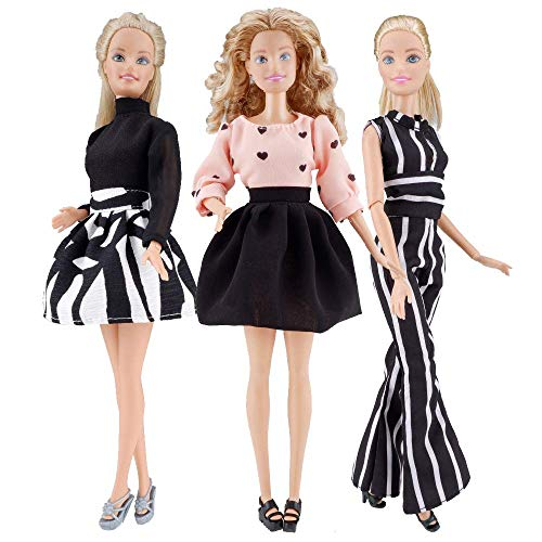 E-TING 3 Sets Fashionista Office Lady Clothing Jumpsuit Mini Skirt for 11.5 inches Girl Dolls (Chiffon Summer Clothes)