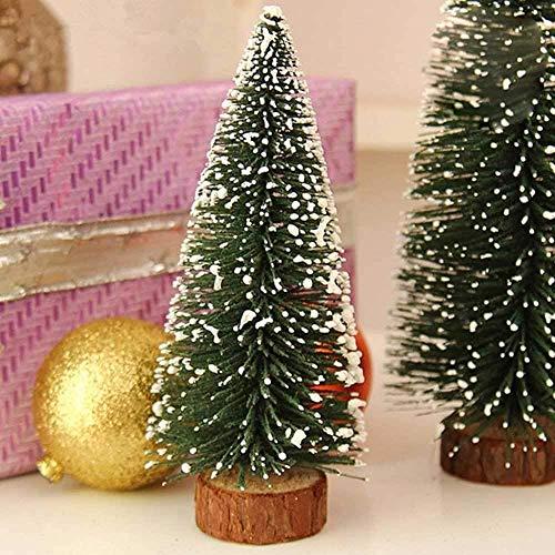 BAKAJI Christmas Set Alberelli Innevati Mini Albero di Natale con Base in Legno Decorazioni Addobbi Natalizi (31 cm - 4pz)