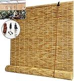 GeYao - Estor enrollable de bambú natural, cortina de paja, antiUV, antipolvo, para interior/exterior/jardín/ventana (tamaño: 50 x 120 cm)