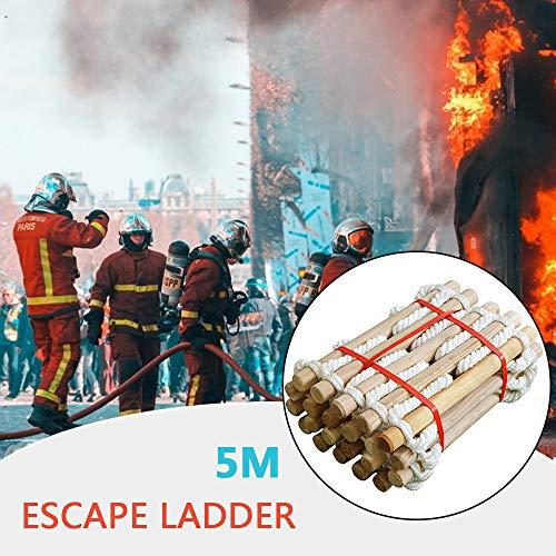 GBHJJ Touwladder, Brandladders voor Tweede Verhaal Ramen, Noodladder, Veiligheidsladder en Vaste Hoogte Brandladder, Ideaal voor Ramen en Balkons, met Haak, 5M 5m