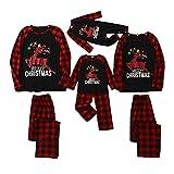 Soapow Navidad Familia Coincidencia Ropa Adulto Niño Bebé Alce Feliz Navidad Plaid Pijamas, Papá, L