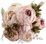 Amkun - Bouquet vintage di peonie artificiali in seta, ornamento per casa e matrimoni, confezione da 1 Light Pink