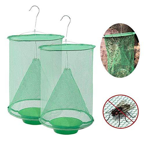Gxhong Ranch Fliegenfalle, 2020 Neue Insektenfalle Outdoor Fliegenfängerkäfig mit Futterköderschale, die effektivste Insektenfalle, die jemals für Fliegen/Mücken/Bienen hergestellt wurde (2 Stück)