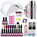 Saint-Acior Kit Uñas Semipermanente10PCS Esmalte en Gel Soak off 8ml 36W UV/LED Lámpara Secador de...