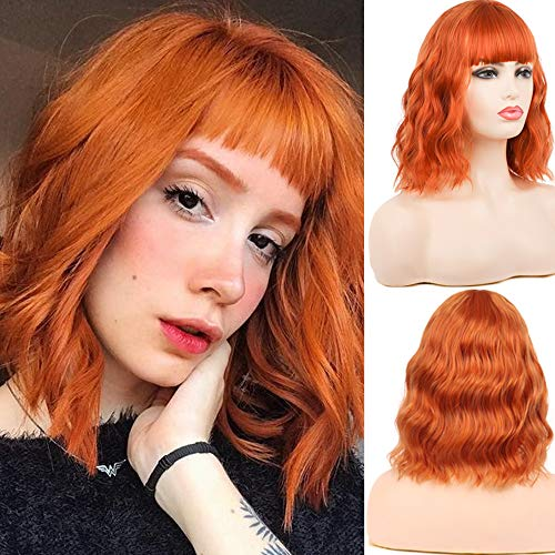 Peluca naranja mujer Pelucas rizadas cortas con flequillo Vestido de lujo Cosplay Peluca para disfraz (Naranja)