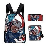 Peiye - Mochila escolar de 3 piezas, estilo japonés, impresión de estilo japonés, con bolsa de hombro, estuche para lápices, para la escuela, estudiantes, niñas y niños H12.