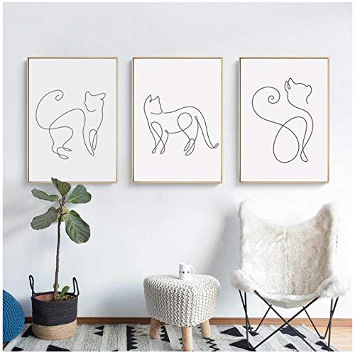MULMF Minimalistische Abstrakte Linie Gebogene Katze Tier Leinwand Kunst Malerei Poster Bild Wand Wohnzimmer Schlafzimmer Wanddekoration- 50X70Cmx3 Kein Rahmen