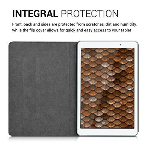 kwmobile Hülle für Huawei MediaPad T2 10.0 Pro - Tabletcover Slim Case Tablet Schutzhülle - Smart Cover Tabletcase Canvas Design Braun - 4