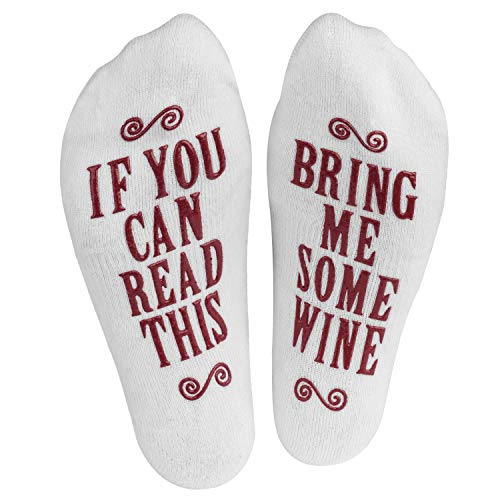 """If You Can Read This, Bring Me."" (Wine, Chocolate, Coffee) Footie Socks in Luxurious Combed Cotton for Women and Men - the Perfect Gift for Christmas, Birthdays, or Holidays (Coffee)"