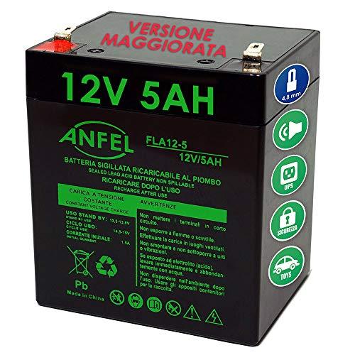 Batteria Ermetica ricaricabile al Piombo 12V 4,5Ah 5Ah con connettore Faston 90 x 70 x 101