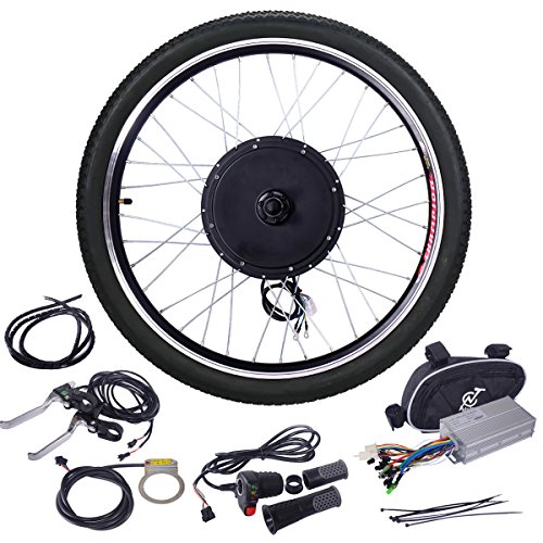 JAXPETY 48V 1000W Electric Bicycle Cycle E Bike 26' Front Wheel Ebike Hub Motor Conversion Kit Hub Motor Wheel