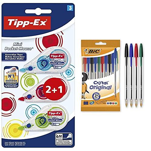 Bic Cinta Correctora Tipp-Ex Mini Pocket Mouse 2+1 + Cristal, Bolsa, Pack De 10 Unidades, Multicolor