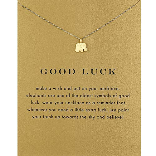 EXGOX Friendship Necklace Good Luck Elephant Pendant Chain Necklace with Meaning Card