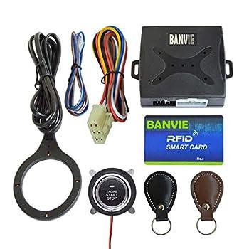 BANVIE Car RFID Leather Key Push to Start Ignition kit Engine Start Stop Button Switch Keyless Go System with Leather Key