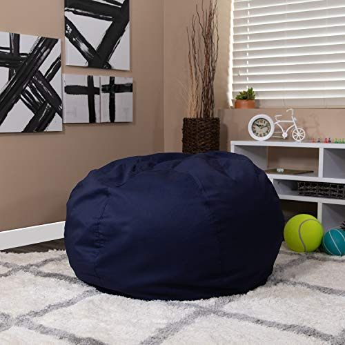 Flash Furniture Oversized Solid Navy Blue Bean Bag Chair for Kids and...