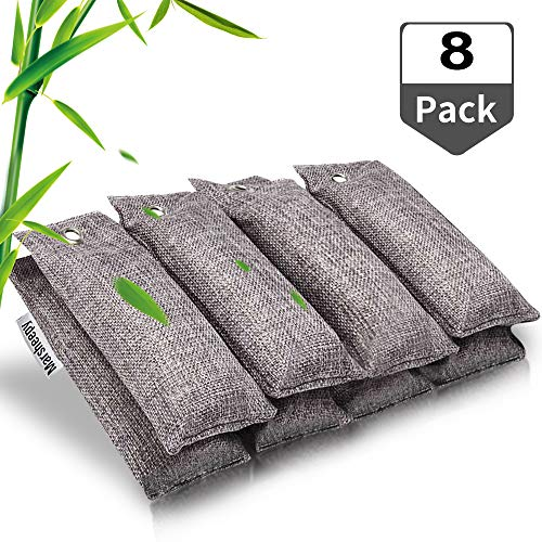 Marsheepy 8 Pack Natural Bamboo Activated Charcoal Air Purifying Bags, Odor Eliminator, Shoe Deodorizer (75g x 8 Pack)
