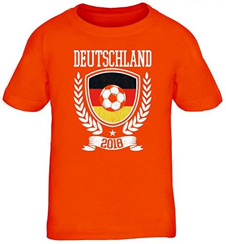 Germany Fußball WM Fanfest Gruppen Fan Kinder T-Shirt Rundhals Mädchen Jungen Pokal Deutschland 2018, Größe: 134/146,orange