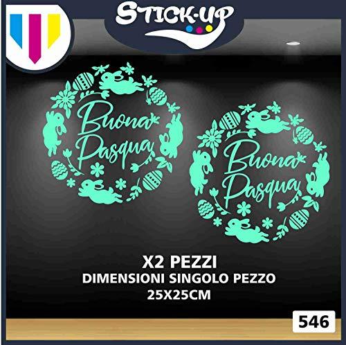 Stick-up Stickers 546 Vetrofania di Pasqua- Ghirlanda Buona Pasqua-Varie Misure e Colori-Decorazioni adesive per vetrine di Negozi (Verde Acqua, 2 Pezzi 25x25cm)