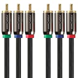 FosPower [3 FT] 3RCA Male to 3RCA Male RGB Plugs, YPbPr Component Video Connectors Cable for DVD Players, VCR, Camcorder, Projector, Game Console and More - (Red, Green, Blue)