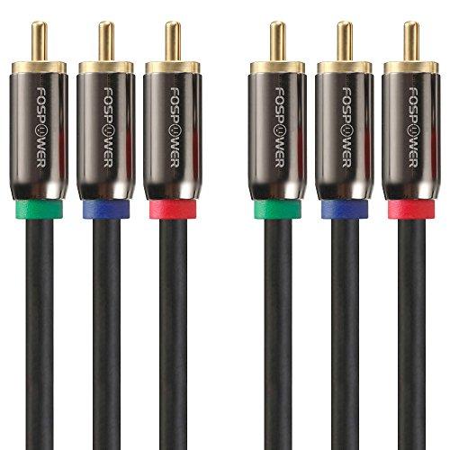 FosPower Komponentenkabel (1m)/ 3X Cinch-Stecker-3x Cinch-Stecker (YPbPr) / 3 RCA Kabel/Videokabel/HDTV Kabel/Component für DVD Player Spielkonsole (Rot |Grün| Blau)