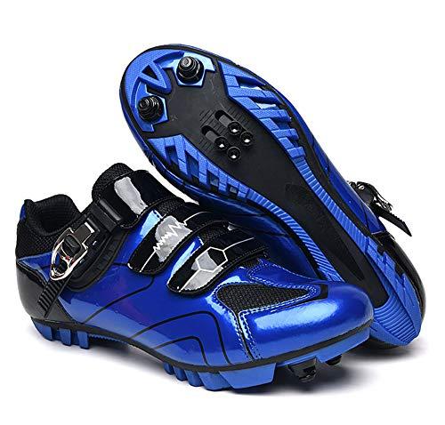 QSMGRBGZ Fahrradschuhe, Herren MTB SPD Mountainbike-Schuhe, Rennradschuhe atmungsaktive Außenzyklusschuhe (Ferse Höhe: 2 cm),Blau,45 EU