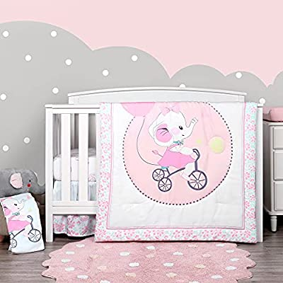 TILLYOU 4-Piece Elephant Theme Crib Bedding Set for Girls, Luxury Nursery Bedding Essential Including 1 Padded Comforter, 1 Crib Skirt and 2 Silky Soft Microfiber Crib Sheets, Standard Size, Pink by Smile Textile