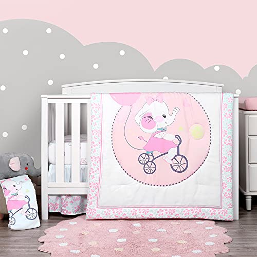 TILLYOU 4-Piece Elephant Theme Crib Bedding Set for Girls, Luxury Nursery Bedding Essential Including 1 Padded Comforter, 1 Crib Skirt and 2 Silky Soft Microfiber Crib Sheets, Standard Size, Pink