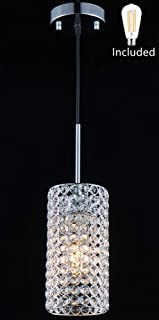 Amabao Lighting, 1-Light Chrome Finish Crystal LED Pendant Light for Kitchen Island,Dining Room, 1 LED Bulbs Included,Adjustable