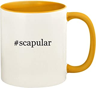 #scapular - 11oz Hashtag Ceramic Colored Handle and Inside Coffee Mug Cup, Golden Yellow