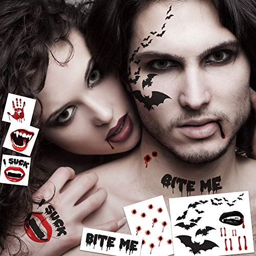 Vampire Temporary Tattoo Pack | Halloween Costume Tattoo Kit | Skin-Safe | MADE IN USA | Removable