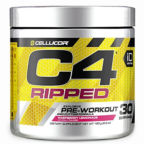 C4 Ripped Pre Workout Powder Raspberry Lemonade   Creatine Free + Sugar Free Preworkout Energy Supplement for Men & Women   150mg Caffeine + Beta Alanine + Weight Loss   30 Servings
