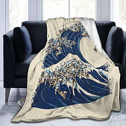 Great Wave of Pug Throw Fleece Blanket Flannel Ultra Soft Lightweight Microfiber...
