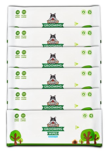 Pogi's Grooming Wipes - 120-Count Travel Pack - Hypoallergenic Pet Wipes for Dogs & Cats - Plant-Based, Fragrance-Free, Deodorizing Dog Wipes