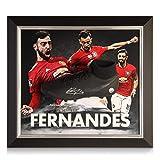 exclusivememorabilia.com Bota de fútbol firmada por Bruno Fernandes. Presentación enmarcada del Manchester United