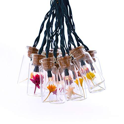 shinar Solarleuchten solar Lichterkette mit 15 Glasflaschen Sternblumem solarlampe Solarbetrieb Deko Beleuchtung Warmweiß wasserdicht für außen draußen, Party, zur Dekoration