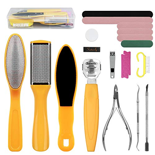 Linkevp 20 in 1 Professional Pedicure Kit Foot File Set Stainless Steel Foot Files for Hard Skin Remover Foot Scrub Foot Scrubber Foot Care Kit Nail File for Wet, Dry Cracked Feet Salon Home