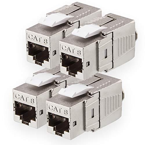 4X Cat.8.1 Keystone Jack RJ 45 Buchse Modul 2000 MHz 40Gbit vollgeschirmt werkzeuglos für cat8.1 STP RJ45 Kupplung Netzwerkkabel Einbaubuchse für Patchpanel Verlegekabel Patchfeld Ethernet Anschluss