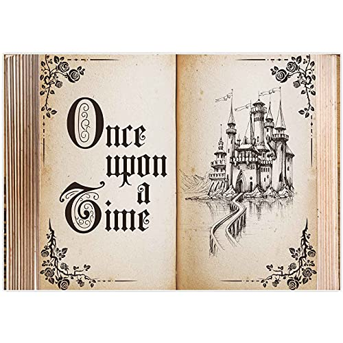 Allenjoy 8x6ft Fairytale Book Photography Backdrop Castle Princess Romantic Wedding Baby Shower Birthday Party Background Ceremony Banner Decorations Photo Booth Photoshoot Props
